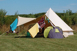 Quiet family camping in bell tent in Pembrokeshire near the sea.